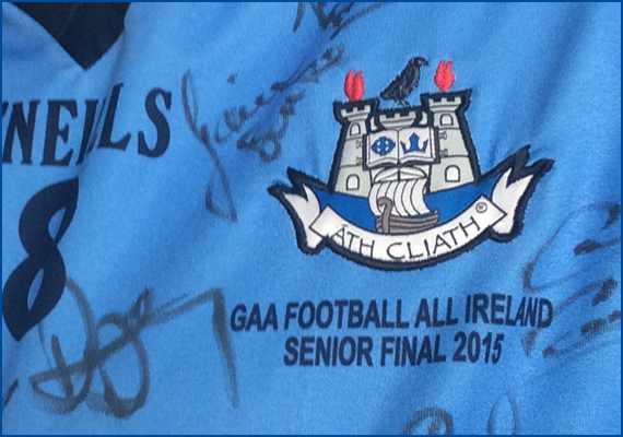 Brian Fenton's All-Ireland winning Dublin jersey signed by all the team. On display in Raheny GAA club.